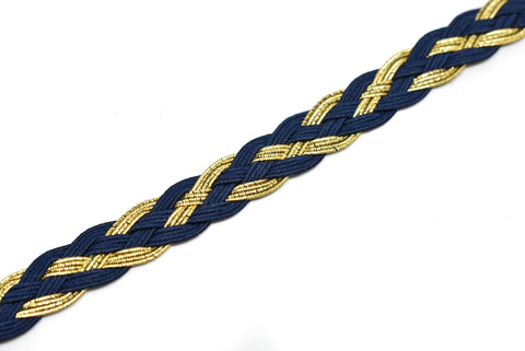 "1/2"" (13 mm) Stretchy Braided Metallic Gimp Trim"
