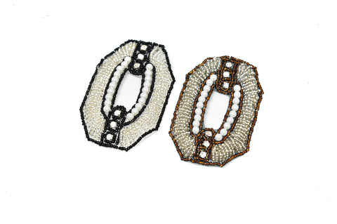 3'' x 2'' Hexagon Shaped Rhinestone and Beaded Applique