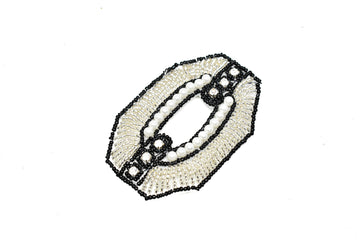 "Hexagon Beaded and Rhinestone Applique 3"" x 2"" - 1 Piece"