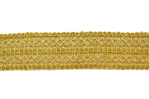 Metallic Gold Patterned Sari Border Trim
