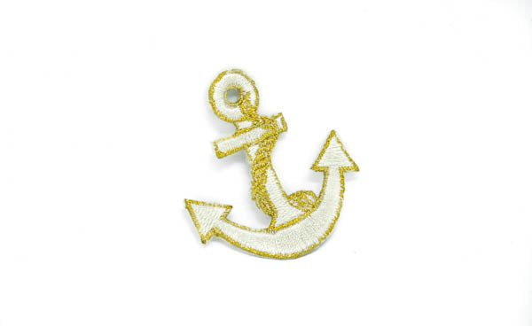 "2"" x 1.2""Anchor with Rope Embroidered Iron-On Patch"