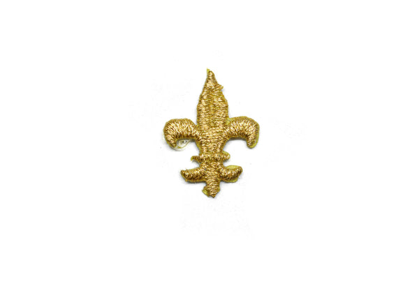 "Fleur De Lis Iron-on Applique Patch- Metallic Gold 1.10"" Saints (4 or 12 pack)"