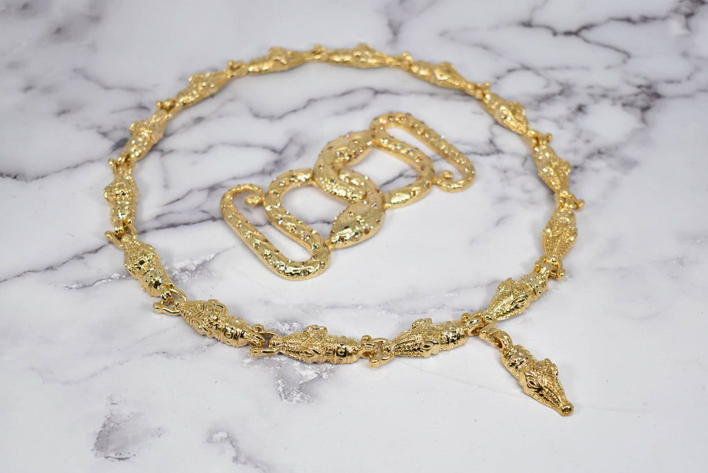 Gold Alligator Head Necklace + Snake Buckle Set