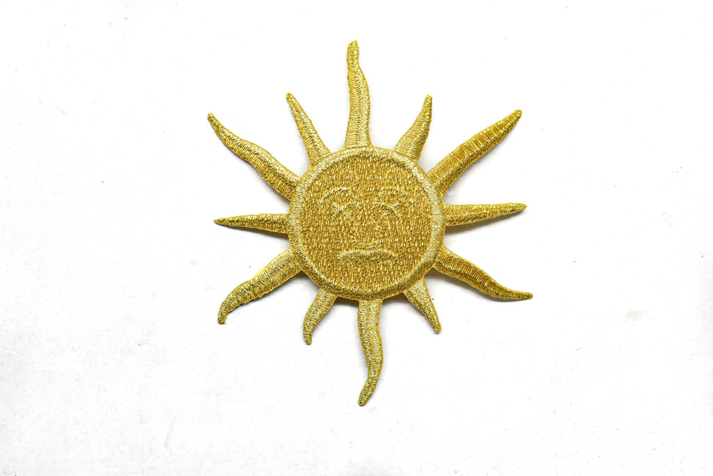 Gold Embroidered Moon Or Sun/Half Sun Iron-On Patch/Applique