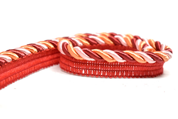 "1"" Pink, Orange and Burgundy High-Quality Cording on Tape"