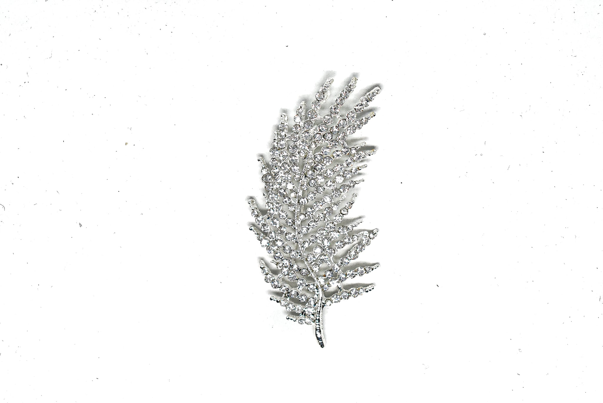 3 1/2'' x  1 1/2'' Feather Rhinestone Brooch