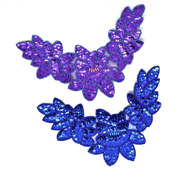 "8"" x 5""  Sequins and Bugle Beaded Iron-On Applique"