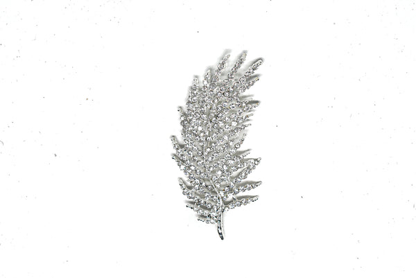Feather Rhinestone Brooch