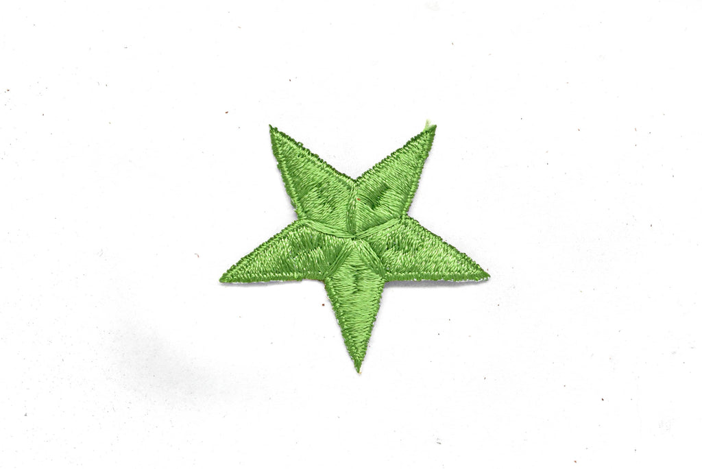 Green Embroidered Star Appliques - Iron-on Star Patch