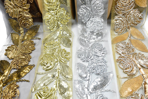 Metallic Rose Organza Trim
