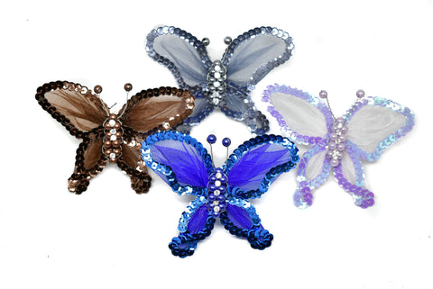 "4"" x 3.5"" Butterfly Brooch with beads and rhinestones"