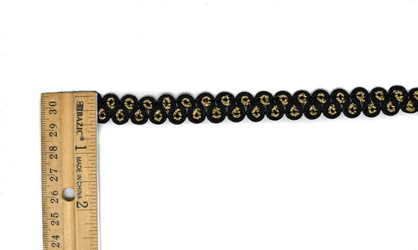 "Black and Metallic Gold Gimp Trim 1/2"" - 1 Yard"