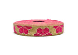 "1"" Metallic Hexagon Leaf Design Indian Ribbons"
