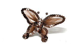 "Rhinestone Butterfly Brooch with Beads 4"" x 3.5"" - 1 Piece"
