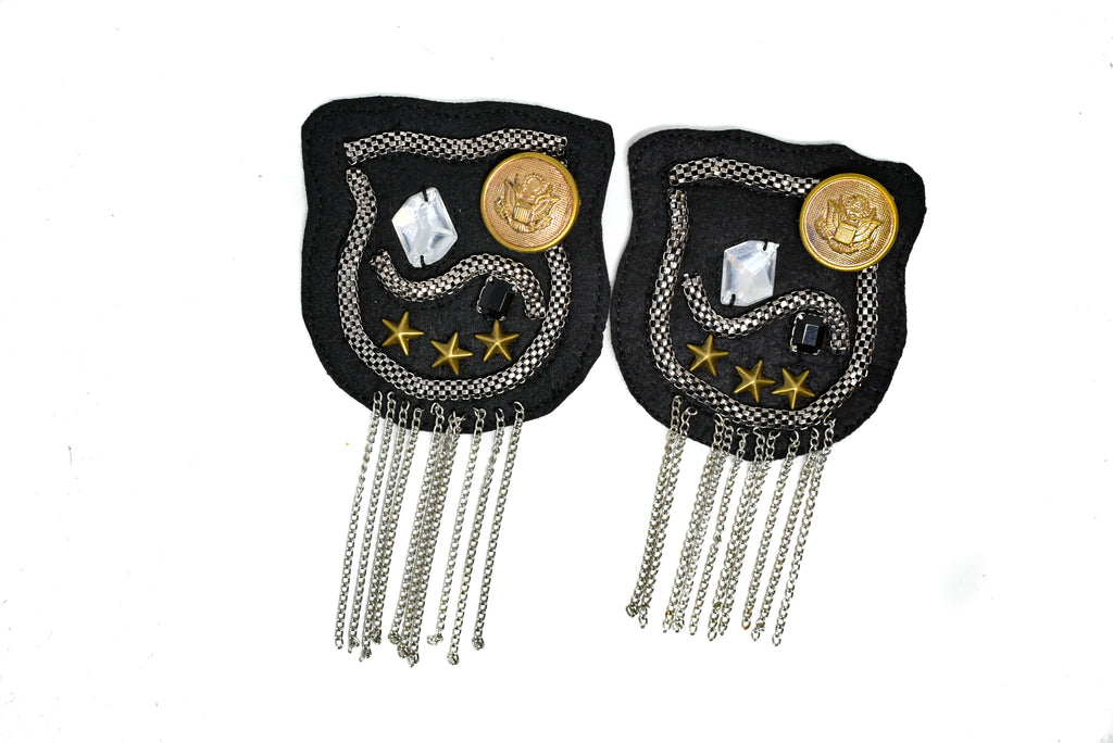 Pair (2 Pieces) Rhinestone and Studded Shoulder Pads with Chain