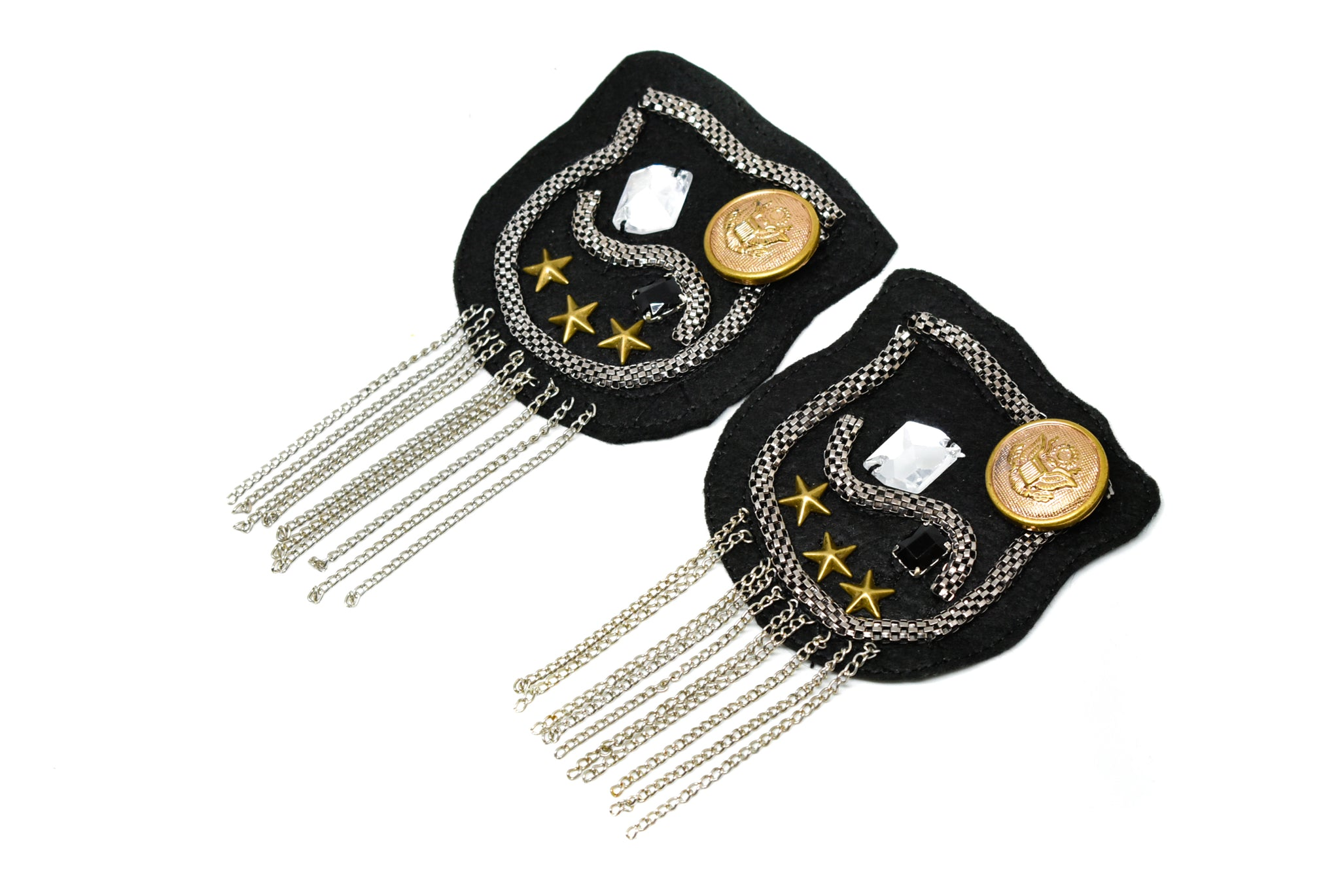 Pair (2 Pieces) Rhinestone and Studded Shoulder Pads with Tassel- DIY Accessory Festival Epaulets- Shoulder Piece Applique- Shoulder Pad Piece