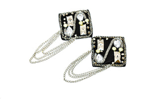 Square Shape Epaulet with Rhinestone, Beads and Dangling Chain