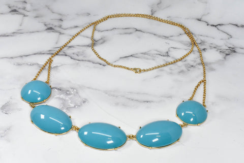 Unique Gold and Turquoise Chunky Necklace
