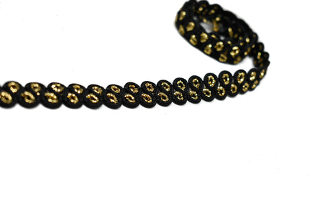 "1/2"" Black and Metallic Gold Gimp Trim"