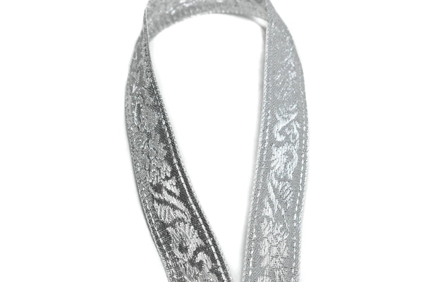 "Metallic Silver Jacquard Ribbon 7/8"" - 1 Yard"