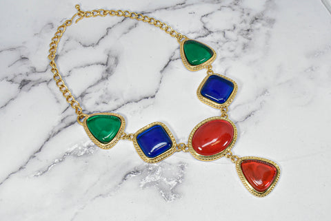 Multi-Color Rhinestone Necklace with Gold Chain