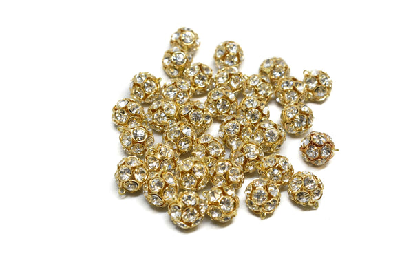 "Gold Rhinestone Button 1/4"" - 6 Pieces"