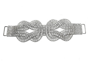 "9"" x 6"" Double Knotted Clear White Rhinestone Dress Clasp Connector - Design 1"