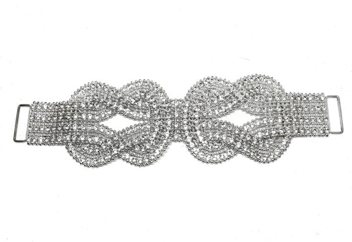"Double Knotted Clear Rhinestone Dress Connector 9"" x 6""- 1 Piece"