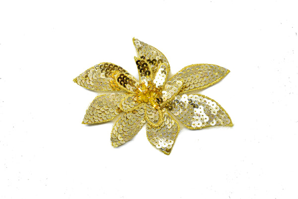 "4 1/2"" 3"" Gold Sequins Flower Applique with Pin"