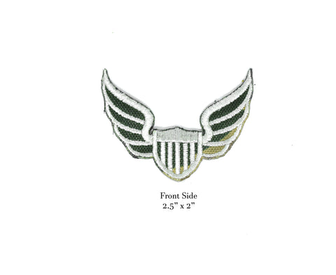 "2.5"" x 2"" Embroidered Camouflage Print Air Force Patch Applique With Wings- Iron-on Patch Applique- Perfect for Cosplay Costumes"