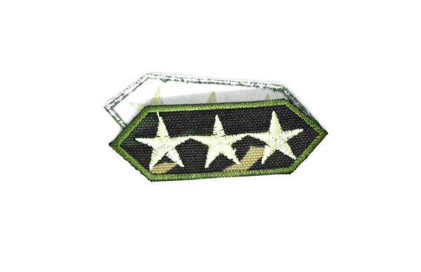 "3.4"" x 1.8"" Embroidered Camouflage Lieutenant General Iron On Patch Applique- 3 Star Lieutenant Patch Applique"