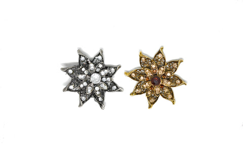 "2.5"" Star Shaped Floral Piece with Rhinestone (Two-Pieces)"