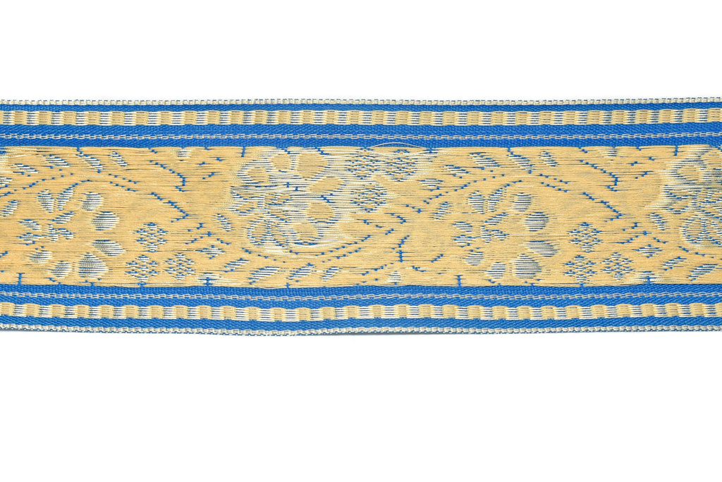 "Floral Jacquard Ribbon - Indian Style Trim 2.25"" - 1 Yard"