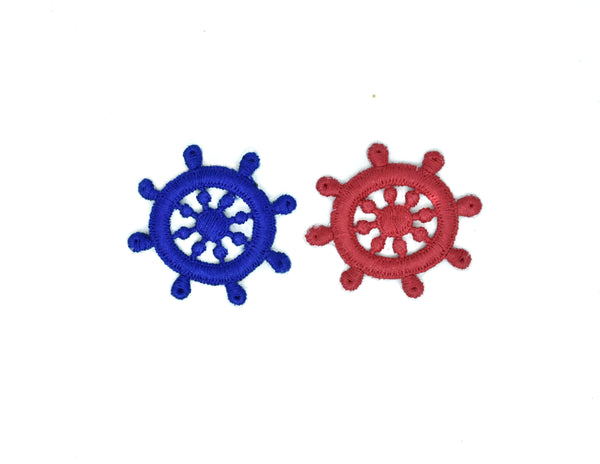 "2"" x 1 1/2"" Boat Helm Iron-On Patch/Applique- Ship Wheel Iron-on Patch Applique  Available in Red and Blue"