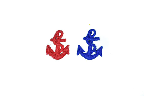 "1 1/2"" x 1"" Ship Anchor Iron-On Patch/Applique- Anchor Iron-on Patch Applique  Available in Red and Blue"