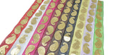 "Metallic Gold Paisley Design on Chiffon Ribbon 1"" - 1 Yard"