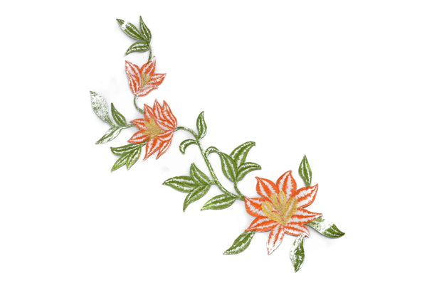 "Embroidered Spring Flower Applique 11 1/2"" x 4 1/2""- 1 Piece"