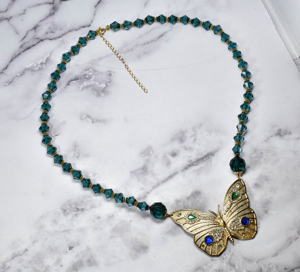 Gold and Teal Butterfly Necklace