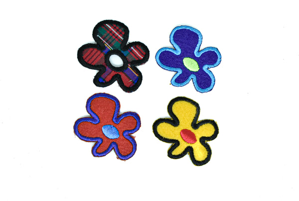 "1 1/2"" x 1 1/2"" Tiny Iron-On Flower Patches- Petite Flower Applique- Different Color Combinations"