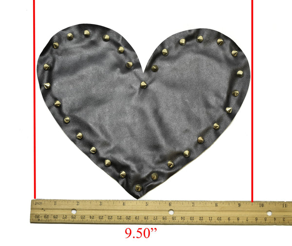 Black Leather Heart with Gold Studs Applique