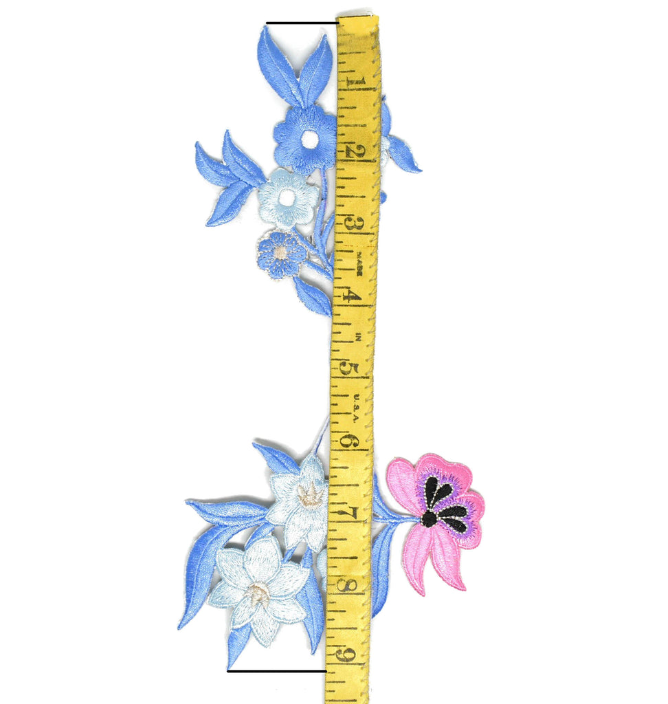 "Blue/Pink Spring Flower Applique 9"" x 4 1/2""- 1 Piece"