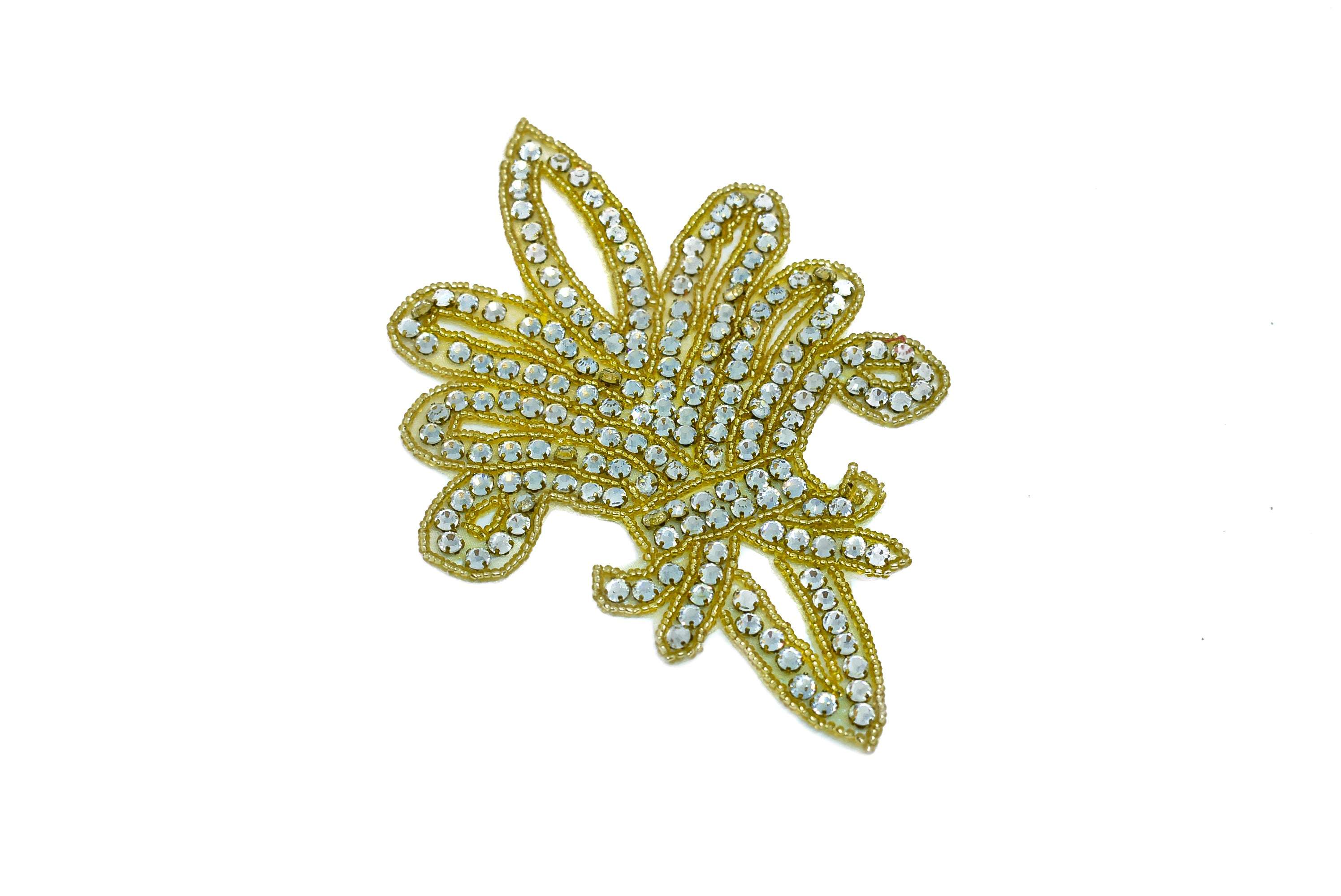 "Fleur-de-lis Rhinestone Iron-On Patch/Applique 7"" x 4.5"" - 1 Piece"