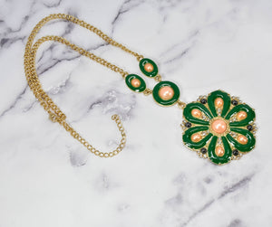Green Flower Necklace w/ Pearls