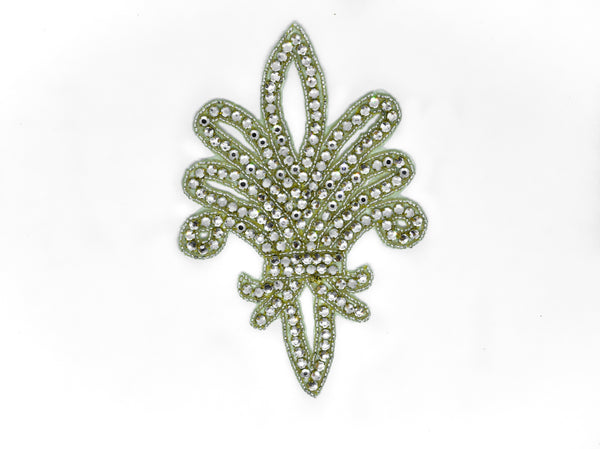 "7"" x 4.5"" Fleur-de-lis Rhinestone Iron-On Patch/Applique"
