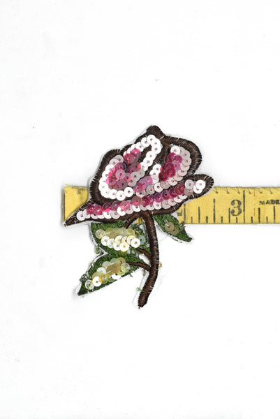 "Embroidered and Sequins Flower Patch 2.50"" x 3.10"" - 1 Piece"