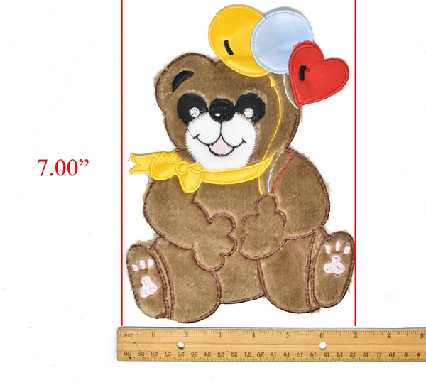 "9"" x 7"" Smiling Bear with Balloons Applique Patch- Smiling Bear Applique"