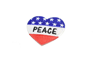 "Heart-Shaped Patriotic Peace Iron-On Patch 2"" x 2 1/4"" - 1 Piece"