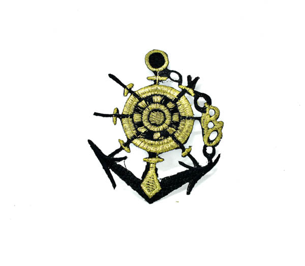 "2 1/2"" x 3"" Black and Gold Anchor with Rope Embroidered Iron-On Patch"