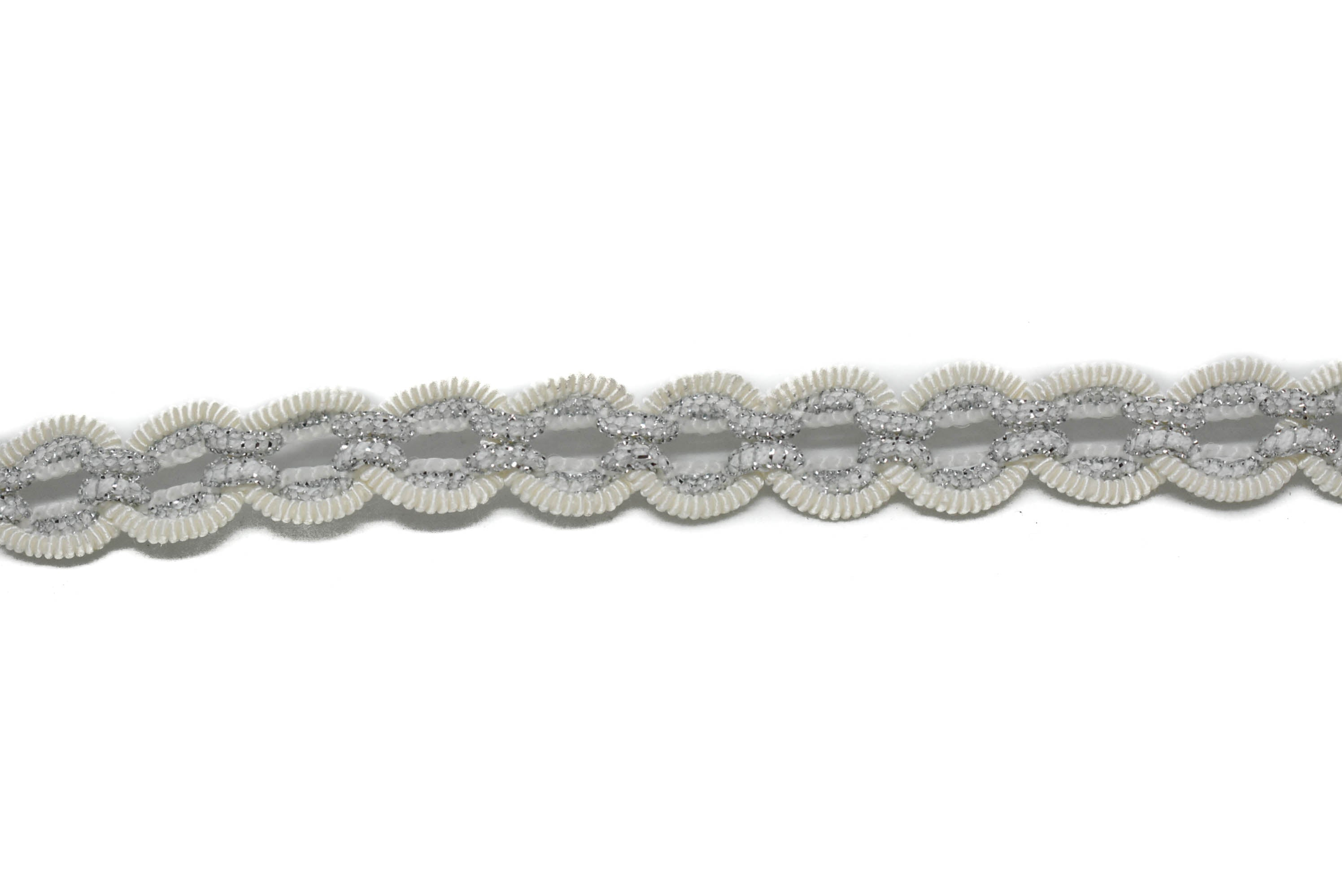 "White and Metallic Silver Gimp with Circular Ridges 1/2"" - 1 Yard"
