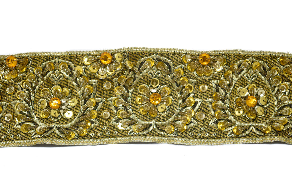Embroidered Jacquard Trim with Sequins